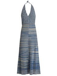 Rachel Comey Teddy Crochet Cotton Halterneck Dress Blue Multi
