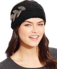 David And Young Leaf Applique Headwrap Black