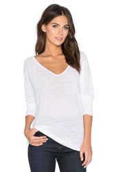 Velvet By Graham And Spencer Swin Linen V Neck 3 4 Sleeve Tee White
