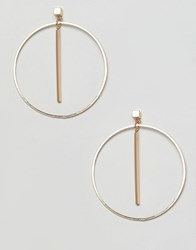 Ny Lon Nylon Drop Hoop Earrings Gold