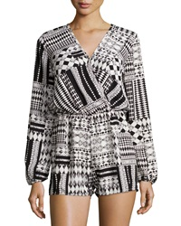Romeo And Juliet Couture Long Sleeve Geometric Print Romper Cream Black