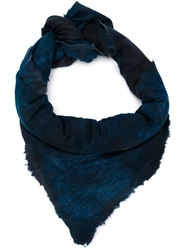 Avant Toi Digital Print Embellished Scarf Blue
