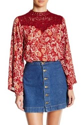 Angie Mock Neck Victorian Blouse Red