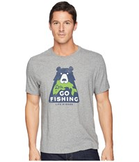 Life Is Good Let's Go Fishing Bear Smooth Tee Heather Gray T Shirt
