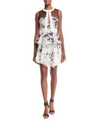 J. Mendel Sleeveless Floral Print Silk Peplum Dress Ivory Black Women's Size 10 Ivoire Noir