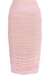 Norma Kamali Ruched Stretch Tulle Skirt Pastel Pink
