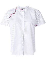 Jupe By Jackie Embroidered Stripe Top Cotton White