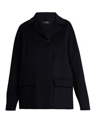 Joseph Caplan Wool And Cashmere Blend Coat Navy