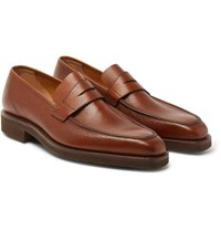 George Cleverley Pebble Grain Leather Penny Loafers Brown