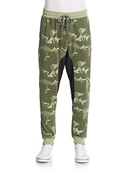 Alternative Apparel Camo Print French Terry Jogger Pants Paintbrush Green