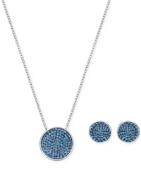 Swarovski Pave Disc Pendant Necklace And Matching Stud Earrings Set Silver