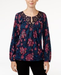 Lucky Brand Katie Floral Print Crochet Top Navy Multi