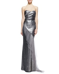 Donna Karan Strapless Sequined Ruffled Gown
