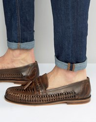 New Look Leather Woven Loafers In Dark Brown Dark Brown Tan