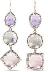 Larkspur And Hawk Sadie Rhodium Dipped Quartz Earrings Silver