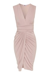 Draped Wrap Skirt V Neck Dress By Wal G Blush