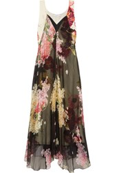 Lanvin Floral Print Silk Chiffon And Crepe De Chine Gown Black