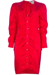 Beatrice Di Borbone Vintage Ruched Slim Fit Dress Red