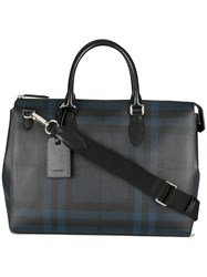 Burberry Large London Check Briefcase Blue