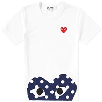 Comme Des Garcons Play 'S Polka Dot Hem Heart Tee White
