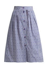 Thierry Colson Riviera Geometric Print Cotton Skirt Blue White