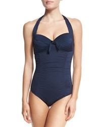 Seafolly Maillot Soft Cup Halter One Piece Swimsuit Indigo