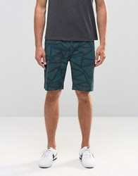 Asos Slim Mid Length Aztec Shorts In Khaki Khaki Green