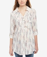 Motherhood Maternity Printed Button Front Blouse Tbd