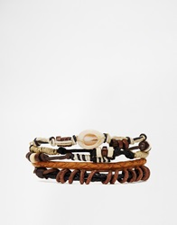 Asos Leather Bracelet Pack In Brown With Shell Detail Multi
