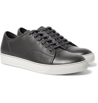 Lanvin Cap Toe Leather Sneakers Charcoal