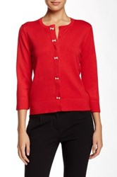 Cable And Gauge Bow Button Cardigan Red