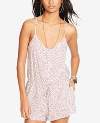 Denim And Supply Ralph Lauren Floral Print Romper Pink