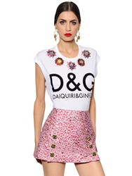 Dolce And Gabbana Embroidered Print Cotton Jersey T Shirt