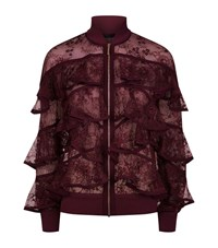 Elie Saab Ruffled Lace Bomber Jacket Female Red
