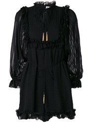 Zimmermann Ruffled Hem Playsuit Silk Polyester Black