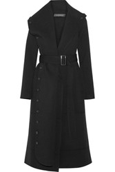 Roland Mouret Harper Belted Draped Wool Twill Coat Black