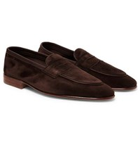 Edward Green Polperro Leather Trimmed Suede Penny Loafers Dark Brown