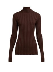 Helmut Lang High Neck Ribbed Knit Wool Sweater Brown