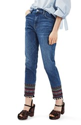 Topshop Women's Embroidered Pompom Jeans