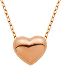 Lord And Taylor Puffed Heart Pendant Necklace Rose Gold