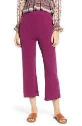 Angie Plus Size Rib Crop Pants Magenta