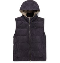 Brunello Cucinelli Suede Down Gilet Blue