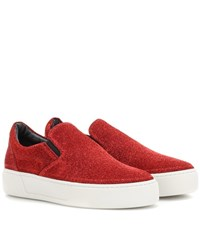 Balenciaga Glitter Slip On Sneakers Red