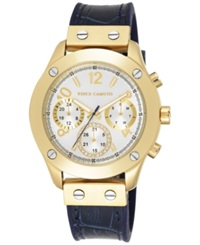 Vince Camuto Women's Navy Silicone And Croco Grain Leather Strap Watch 42Mm Vc 5234Wtnv