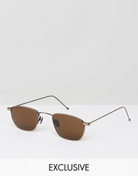 Reclaimed Vintage Square Sunglasses With Brown Lens Brown