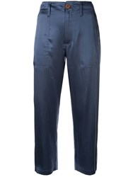 Jejia Bicolor Cropped Trousers Blue