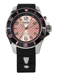 Kyboe Power Black Silicone And Stainless Steel Strap Watch 48Mm