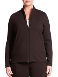 Eileen Fisher Plus Size Stretch Cotton Zip Front Jacket Black