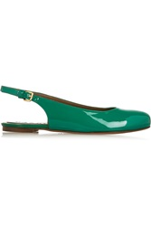 Marni Patent Leather Slingback Ballet Flats Green