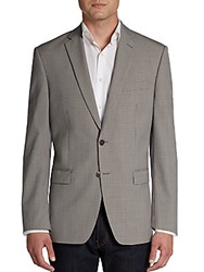 Calvin Klein Slim Fit Mini Checked Wool Sportcoat Tan